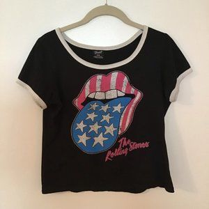 BRAVADO The Rolling Stones Cropped Band Tee Shirt